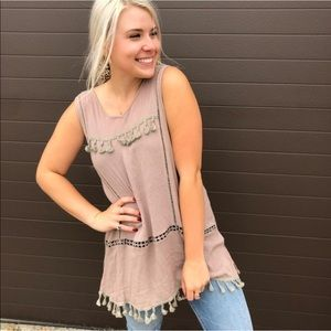 Pol long tunic blush pink embroidered tassels